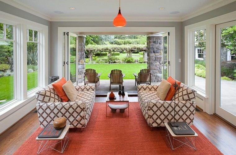 terraza cubierta alfombra color naranja