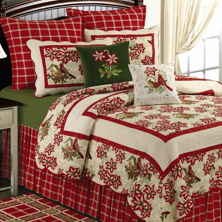 textiles estilo navidad ideas pajaros rojo