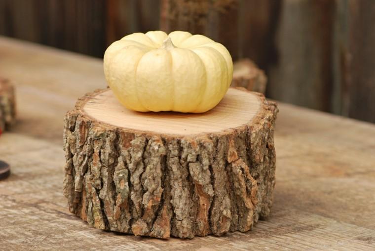 tronco madera pino calabaza amarilla