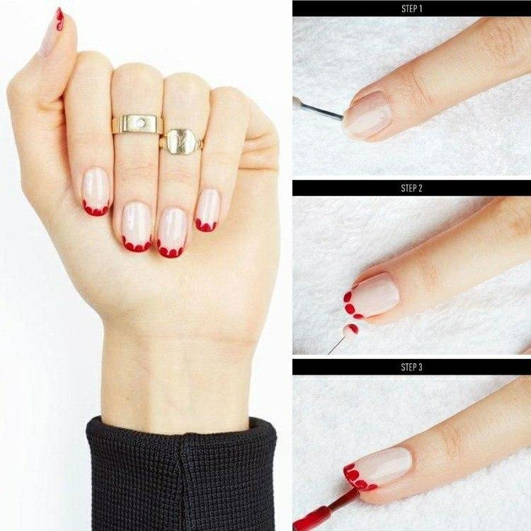 uñas pintadas redondeles rojos