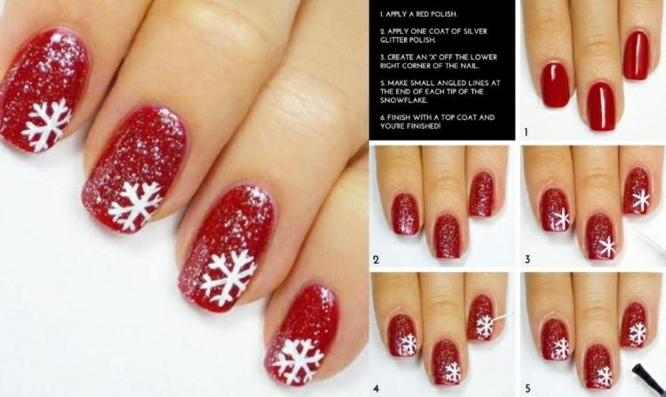 uñas rojas copos nieve blancos. uñas decoradas motivos navidades
