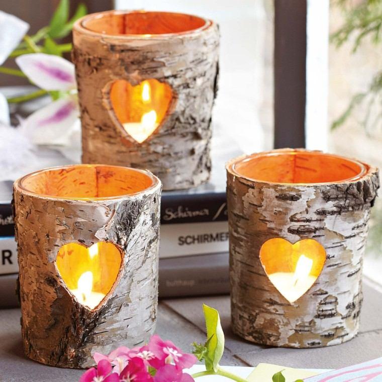 velas decorado otoñal corteza arbol