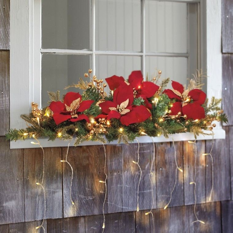 decoracion navide a ventanas con adornos preciosos