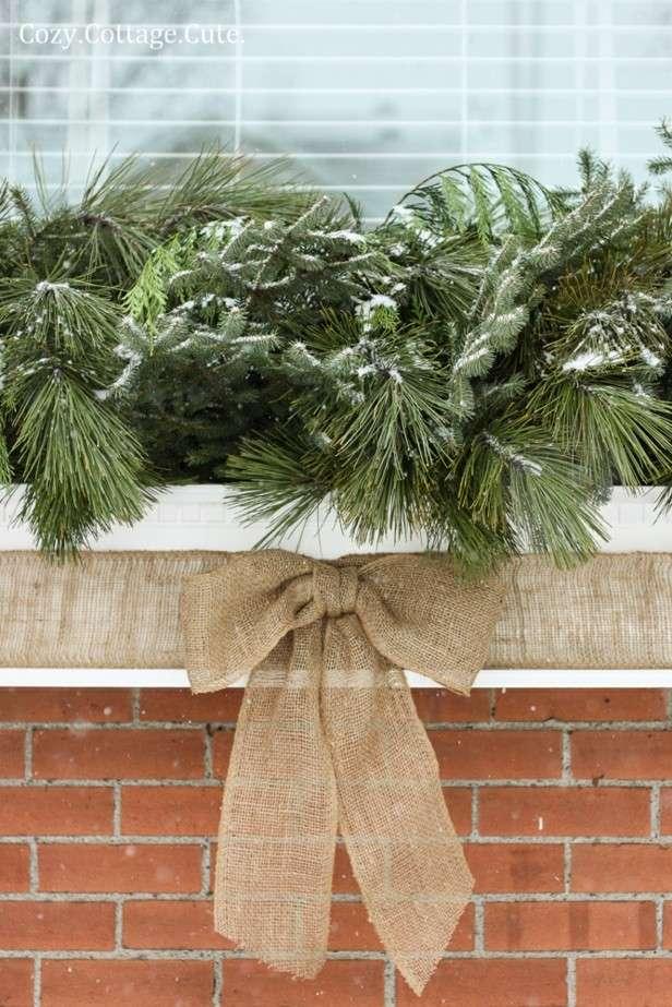 ventana lazo decoración navidad