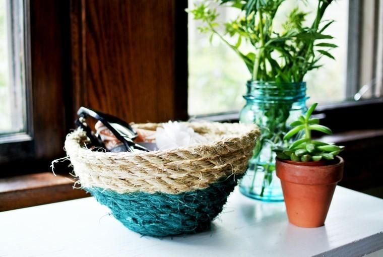 DIY ideas cuerda cesto finalizado precioso ideas pequeno