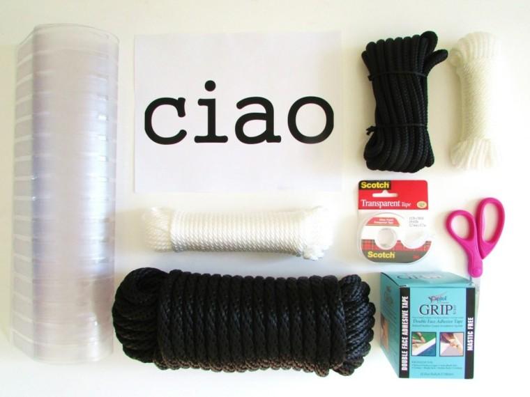 DIY idea cuerda negra alfombrilla entrada materiales necesarios
