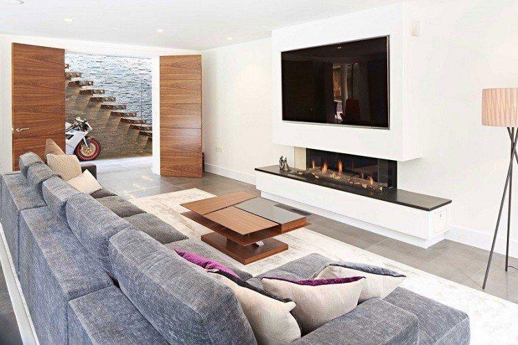 David James Architects mesa madera chimenea ideas