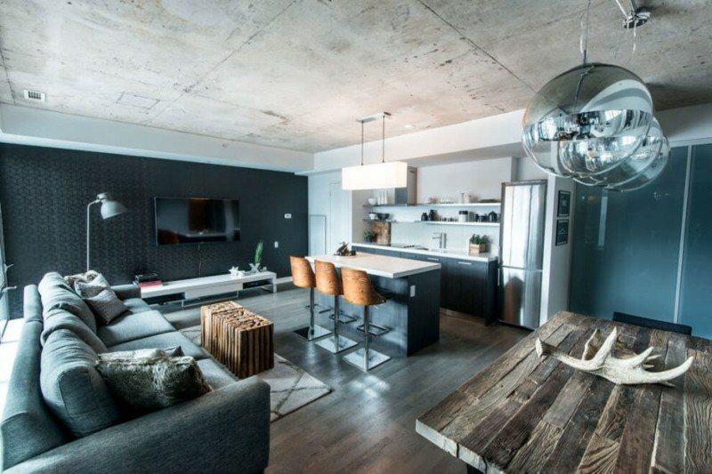 Decoración industrial en el salón, la cocina y el comedor -