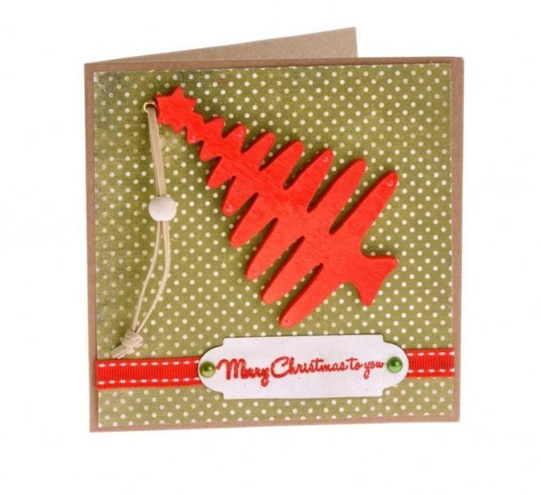 abeto color rojo tarjeta navidad