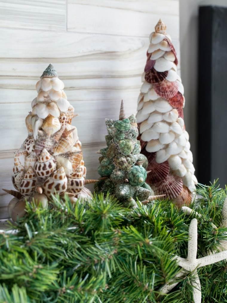 abetos navideños conchas caracolas