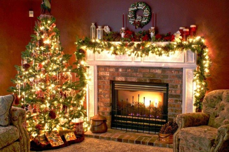 adornos navidad ideas chimenea madera sofa