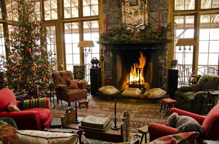 adornos navidad ideas decorativas chimenea fuego