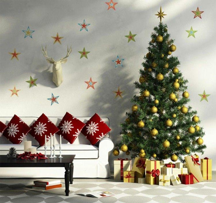 adornos navidad ideas decorativas estrellas paredes