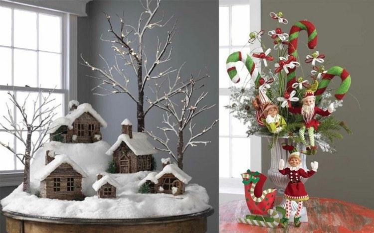 adornos navidad ideas decorativas nieva madera