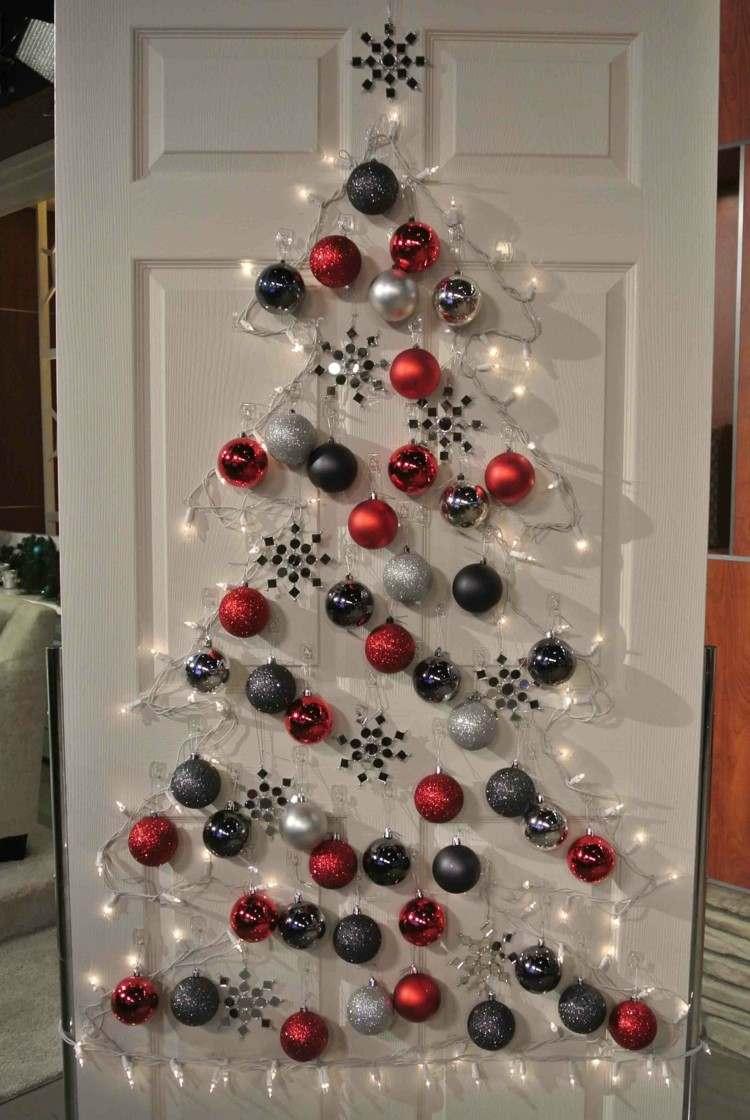 adornos navidad ideas decorativas puerta bolas