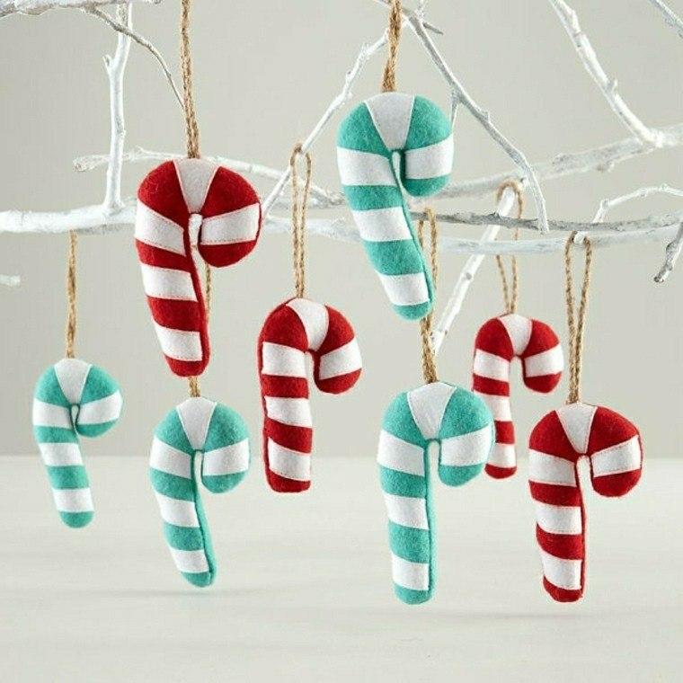 adornos navideños bastones tela ideas