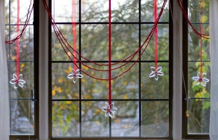 adornos navideños ventanas cristales estilo