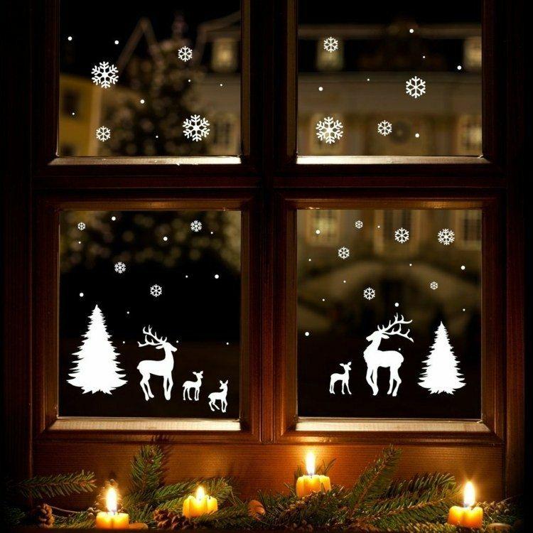 adornos navideños ventanas estilo acogedor blanco
