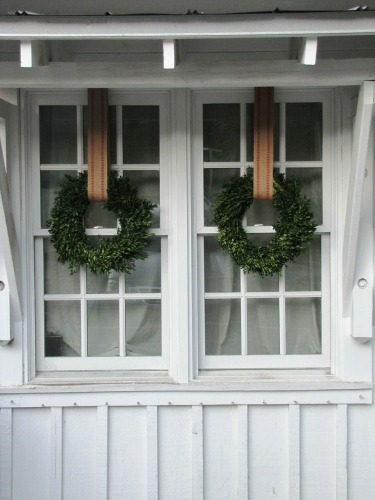 adornos navideños ventanas estilo blanco CINTAS