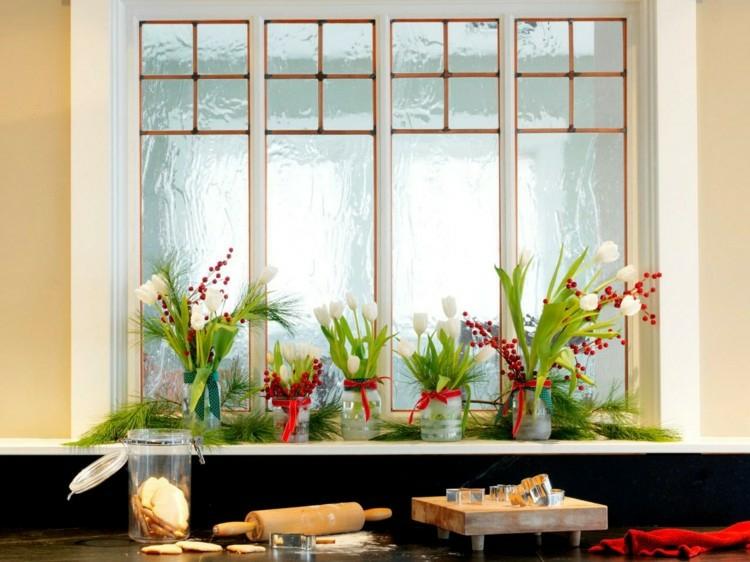adornos navideños ventanas estilo plantas