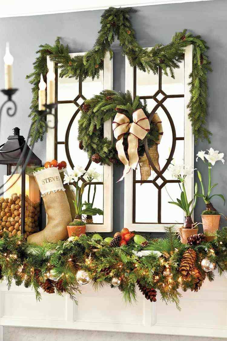 adornos navideños ventanas lamparas ramas