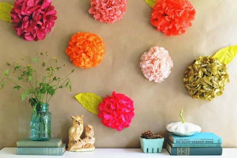 adornos pared flores papel ideas