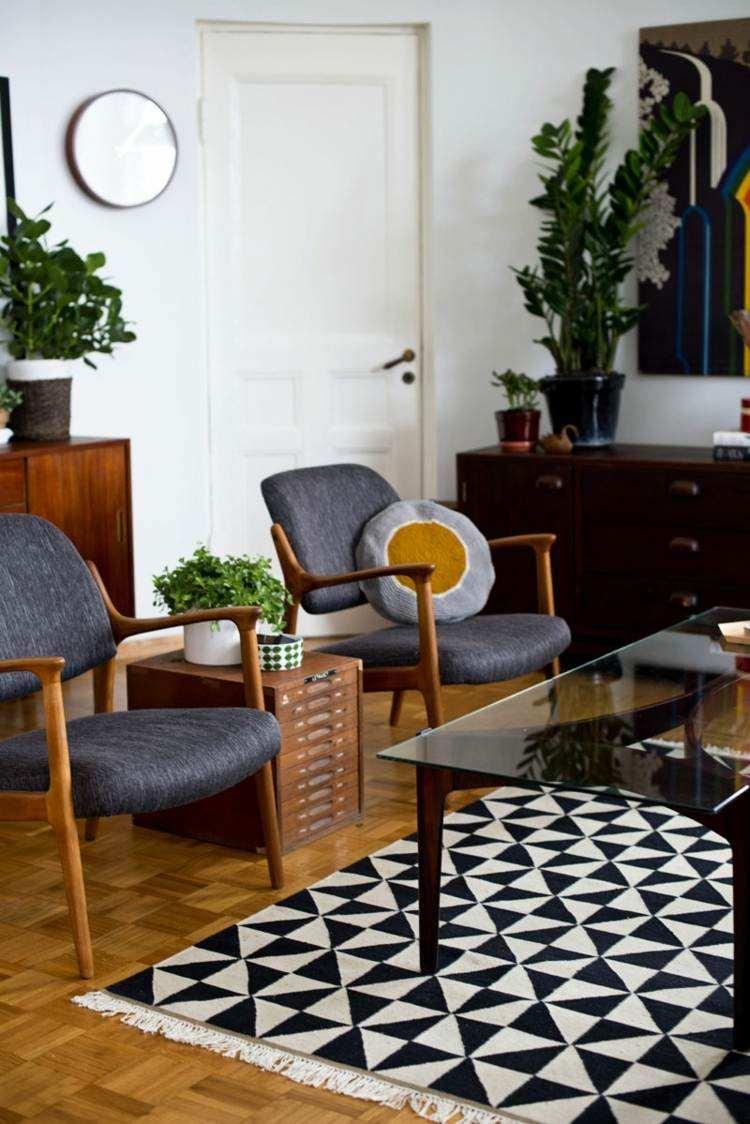 alfombra original sillones grices salon