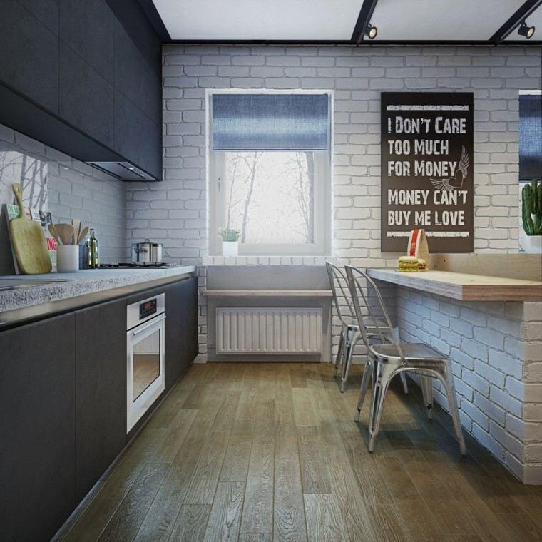 apartamentos diseño decoracion encimeras ladrillos