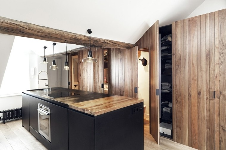 apartamentos diseño pequeño calido madera