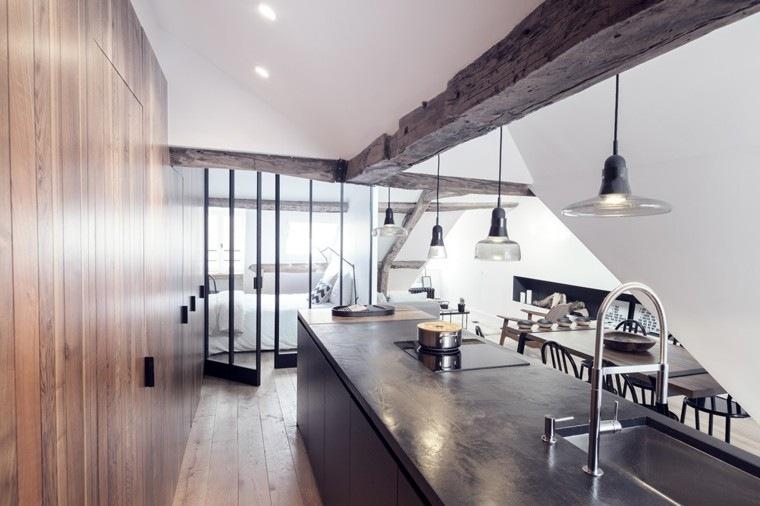 apartamentos diseño pequeño madera moderno