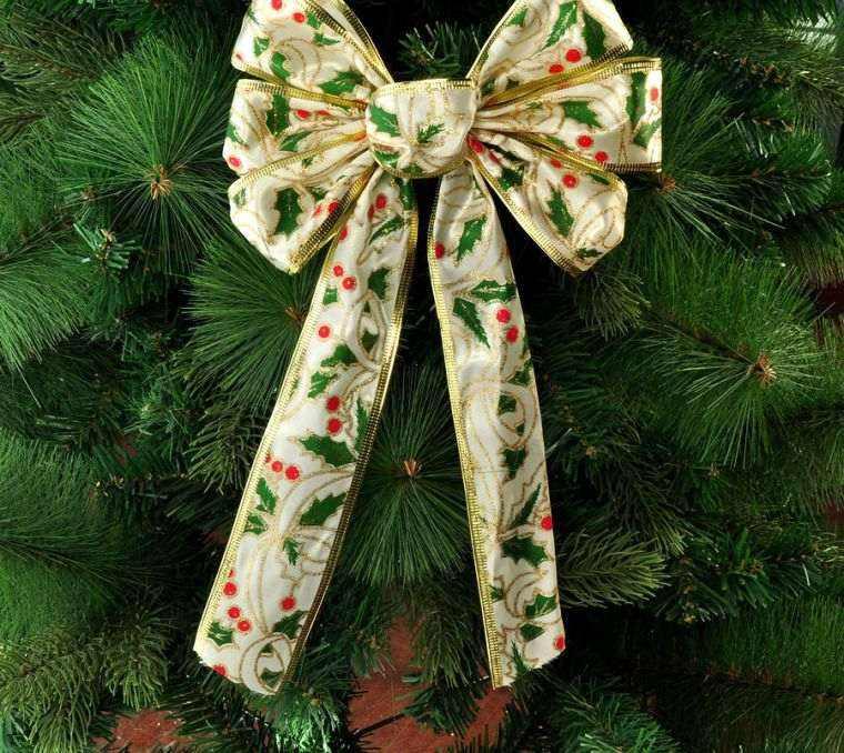 Increíble  Como Hacer Lazos Navidenos #3: Arbol-de-navidad-decoracion-lazo-amarillo-estampas.jpg