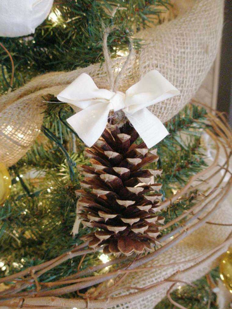 arbol navidad decoracion lazo blanco pina ideas