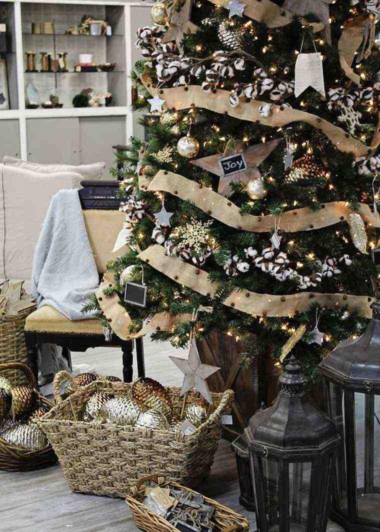 arbol de navidad decoracion lazo color beige ideas