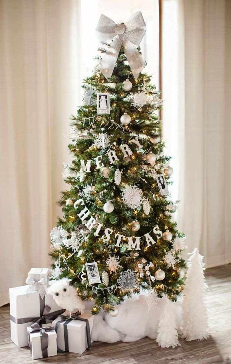 arbol de navidad decoracion lazo letras ideas