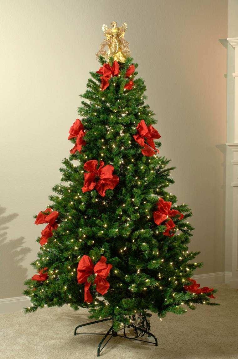 arbol de navidad decoracion lazo rojos luces ideas