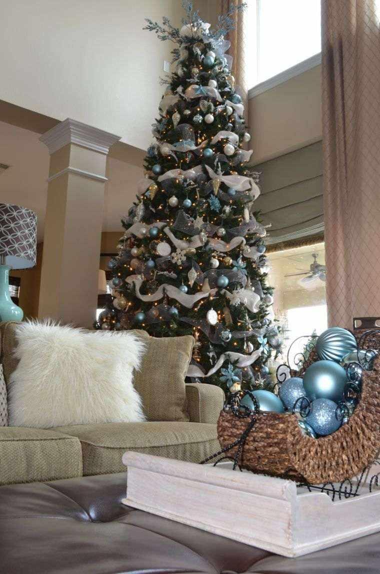 arbol de navidad decoracion lazo salon moderno ideas