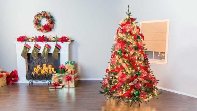 arbol navidad decoracion lazo chimenea ideas
