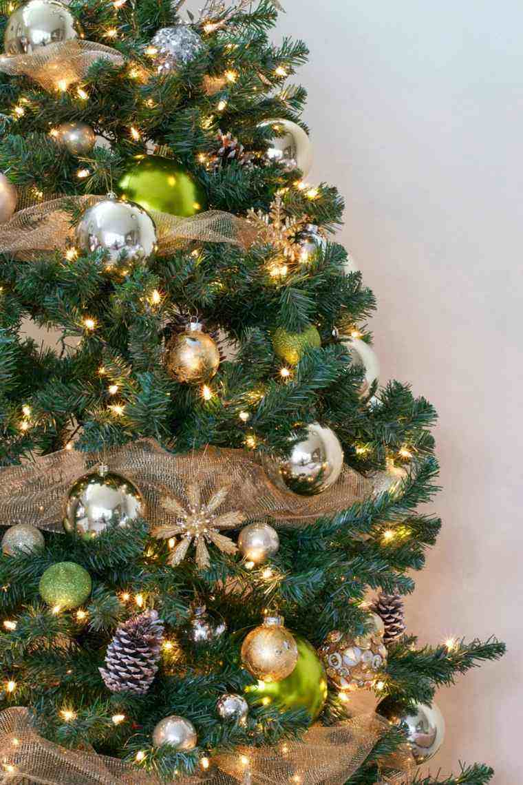 arbol navidad decoracion lazo color beige ideas