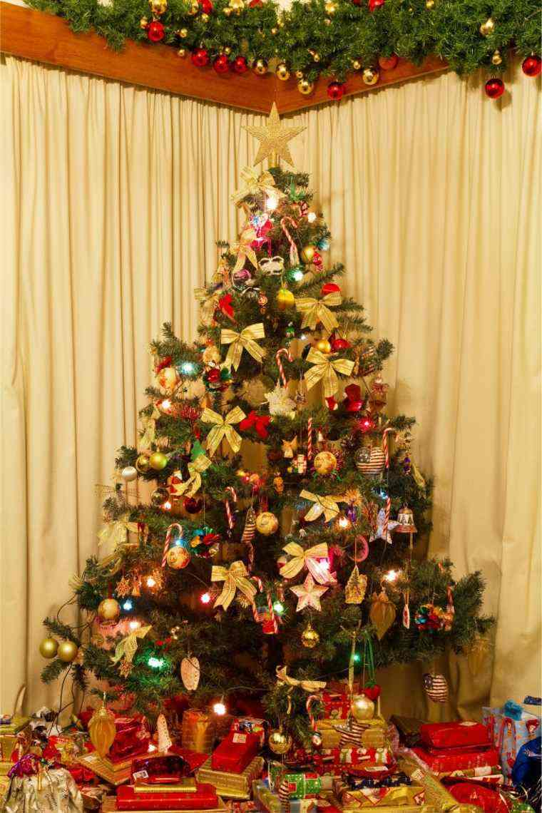 arbol navidad decoracion lazo color oro ideas