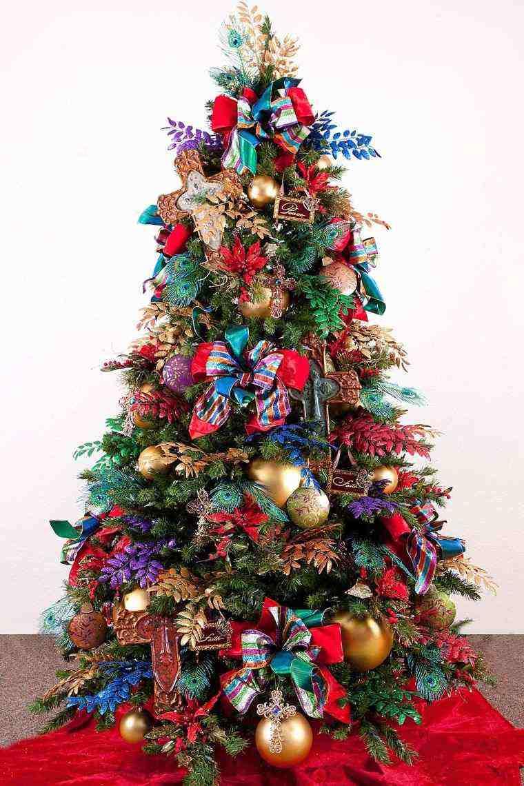 arbol navidad decoracion lazo colores vibrantes ideas