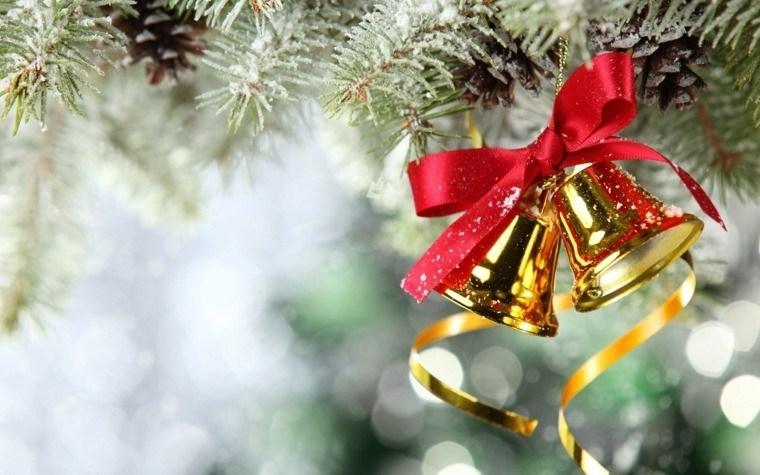arbol navidad decoracion lazo dos campanas oro ideas