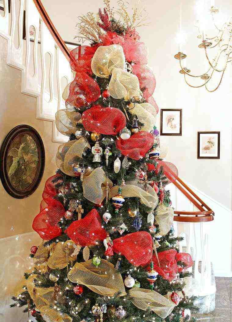 arbol navidad decoracion lazo oro rojo ideas