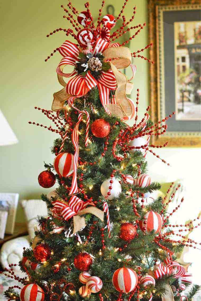 Arbol de navidad decoracion preciosa con lazos - Adornos para el arbol de navidad ...