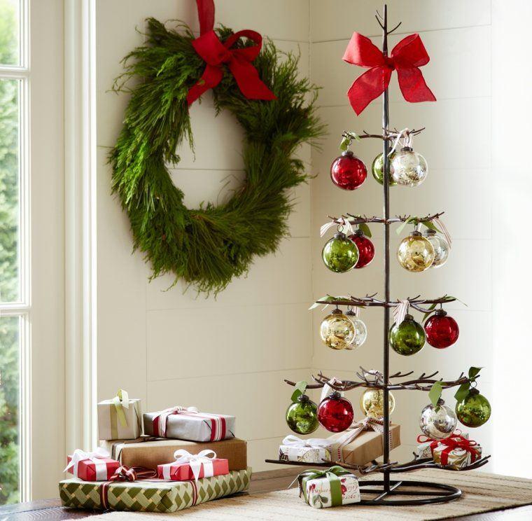 arbol navidad decoracion lazo rojo ideas