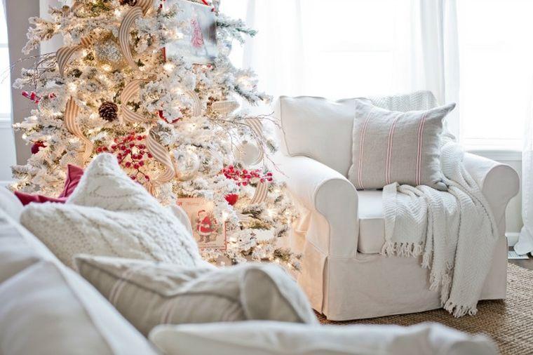arbol navidad decoracion lazo salon blanco ideas