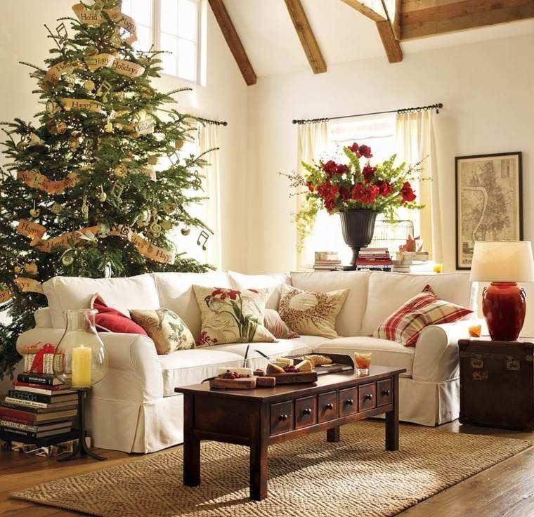 arbol navidad decoracion lazo salon ideas
