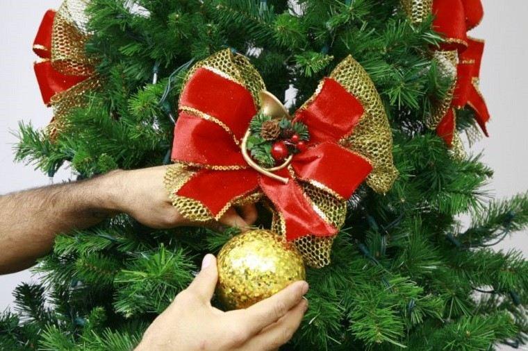 arbol navidad decorado lazo rojo bola oro ideas