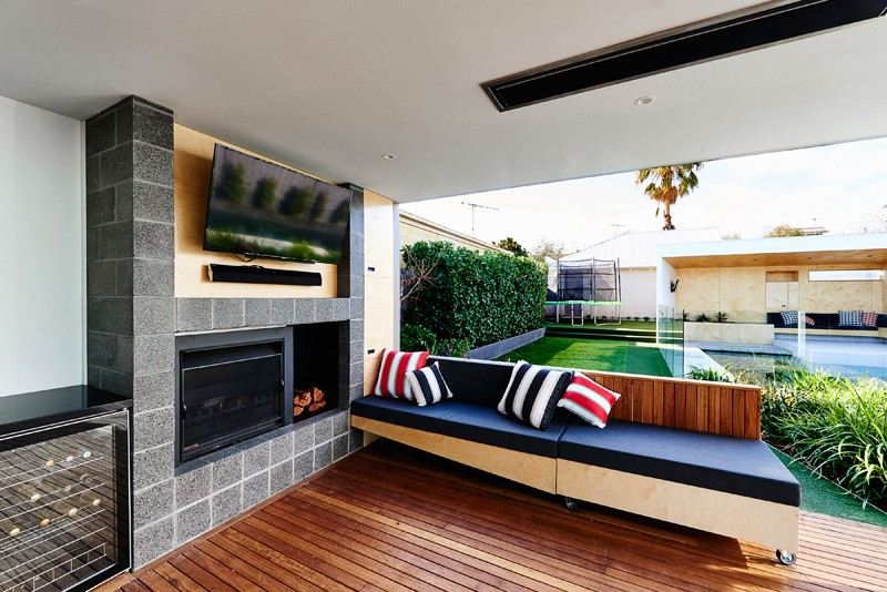 area piscina casa jardin cocina ideas