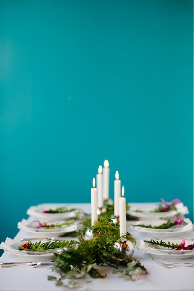 azules paredes decorado velas manteles