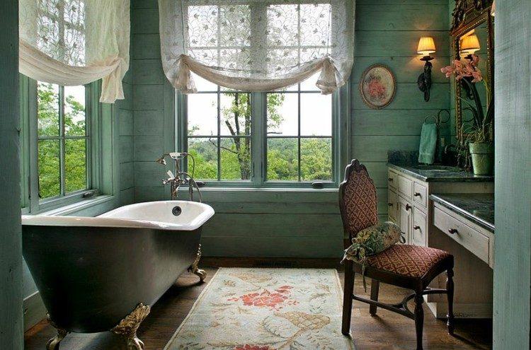 bañeras negras cuadros jardines cortinas